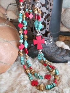 Extra chunky western red magnesite cross with by WBrandDesigns, $40.00
