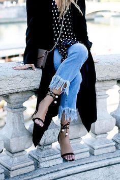 Frayed Hem Jeans, Polka Dots Tops, Raye Sandals with Pearl details, Black Coat, YSL Bag Denim Fashion, Fashion Outfits, Womens Fashion, Fashion Trends, Runway Fashion, Frayed Hem Jeans, Altering Clothes, Inspiration Mode, Denim Trends
