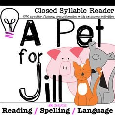 A closed syllable reader for beginning readers with decoding, comprehension, fluency, grammar, oral Enrichment Activities, Classroom Activities, Kindergarten Lesson Plans, Teaching Kindergarten, Teaching Ideas, Syllable, Teacher Tools, Reading Resources, Elementary Education