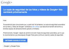 #Google nos dice por email que la copia de seguridad de #Google Fotos desaparece la semana que viene y nos invita a usar #GoogleFotos