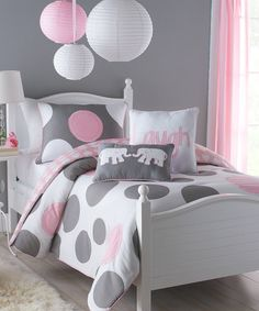 This lavish white, gray, and pink three-piece, full-size comforter set will upgrade your little girl''s bedroom decor. A comfortable cotton-poly construction with two matching shams completes this adorable machine washable comforter set. Teen Girl Bedrooms, Little Girl Rooms, Teenage Girl Bedroom Designs, Full Size Comforter Sets, My New Room, Comforters, Bedroom Decor, Bedroom Ideas, Bedroom Colors