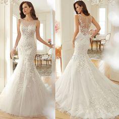 3c7edc00cc7 Купить товар Новое поступление модные элегантные невесты свадебное платье  суд поезд русалка кружева свадебное платье 2015
