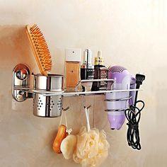 53.99$  Watch here - http://ali7zg.worldwells.pw/go.php?t=32712134689 - Stainless steel bathroom shelf wall mounting hair blow dryer holder single storage rack bathroom accessories prateleira 53.99$