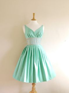 Mint Green Cotton Satin Prom Dress Made by Dig by digforvictory from digforvictory on Etsy. 50s Dresses, Pretty Dresses, Beautiful Dresses, Short Dresses, Summer Dresses, Wearing Dresses, Vintage Outfits, Vintage Dresses, Vintage Fashion