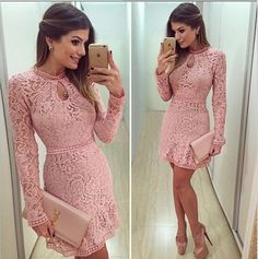 2016 New Women Fashion Casual Lace Dress sexy Pink Evening Party Dresses