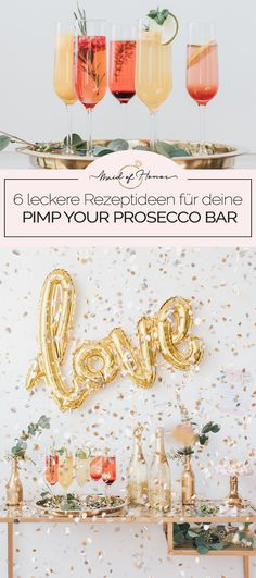 Pimp your Prosecco Bar: Die leckersten Rezeptideen Are you planning a bridal shower for your bride or are you meeting your home for a common styling before the hen party? Then the Pimp your Prosecco Bar is just right for you! Wedding Catering, Wedding Events, Bar Events, Pina Colada, Diy Wedding Lighting, Prosecco Cocktails, Pimp Prosecco, Manualidades Halloween, Diy Bar