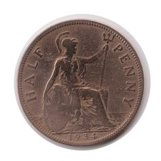 George V Half Penny 1934 Coin Polished Code: by COINSnCARDS
