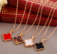 Gold Clovers Necklace--3 Colors For Choice. $4.99, via Etsy.