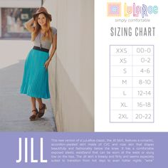 LuLaRoe Jill Skirt Size Chart. Shop now: www.facebook.com/groups/LuLaRoeJenny/.