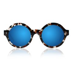 Illesteva Frieda Eco Clear Marble With Blue Mirrored Lenses Sunglasses