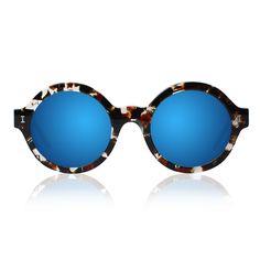 Illesteva Frieda Eco Clear Marble With Blue Mirrored Lenses Sunglasses