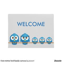 Cute twitter bird family cartoon doormat