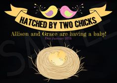 Hatched By Two Chicks Nest and Eggs Pregnancy Announcement Printable Cards - Two Moms, Lesbian Moms, LGBT parents by EventsYouCanPrint on Etsy