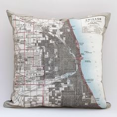 For DAD?  vintage CHICAGO map pillow DIY KIT, made to order 16x16 envelope style. $35.00, via Etsy.