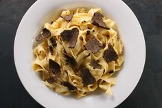 An easy recipe of shaved truffles served with a simple eggy pasta.