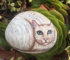Painted Cat On A Rock - Cat Painting - painted rock - createdcanvases - C Michel #Realism