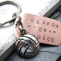 VOLLEYBALL Weapon of Choice Stamped Keychain, alt charms available, see picture on Etsy, $14.95 NEED. NEED.
