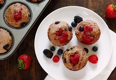 Mixed Berry Whole Wheat Muffins - a great breakfast or just enjoy as a snack.