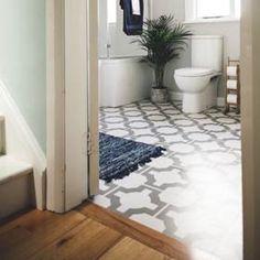 Bathroom with Parquet Stone flooring