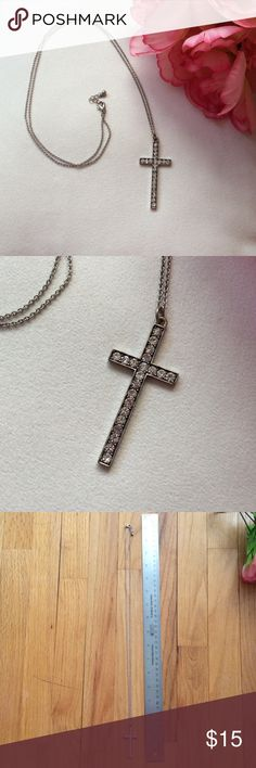 Rhinestone cross necklace Long rhinestone cross necklace. Measures about 17.5 in . Perfect to dress up any outfit :) Jewelry Necklaces