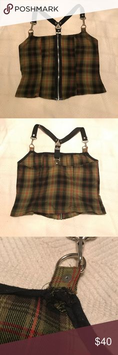 Lip Service Olive Plaid Zip Crop Top Used Vintage RARE. Purchased about 15 years ago. Park of the Punk N Disorderly collection. Some pilling. One of the straps has been mended to attach to the bodice after tearing. Repair shown in pictures. Price reflects damage. Lip Service Tops Crop Tops