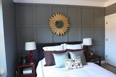 Board & Batton Accent Wall in Guest Bedroom --- Bower Power blog.  Great tutorial too!  Accent wall painted: Secret, Benjamin Moore.  A dark moody color and so lovely.