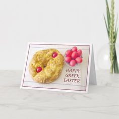 Shop Happy Greek Easter With Tsoureki Bread Card created by Daphsam. Orthodox Easter, Easter Appetizers, Greek Easter, Easter Greeting Cards, Savoury Cake, Happy Easter, Easter Bunny, Clean Eating Snacks