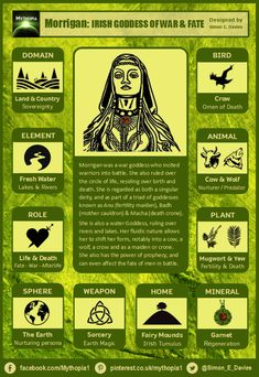 The attributes of the Irish war goddess Morrigan. Goddess Symbols, Celtic Goddess, Celtic Mythology, Pagan Witch, Wiccan, Witchcraft, Celtic Heroes, Divine Goddess, White Witch