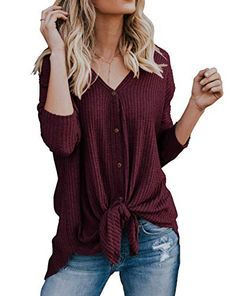 81540adcfce IWOLLENCE Womens Loose Henley Blouse Bat Wing Long Sleeve Button Down T  Shirts Tie Front Knot Tops Wine Red L