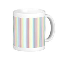 Pinstripe Rainbow White Mug