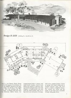 vintage house plans, western ranch houses Design B 2258