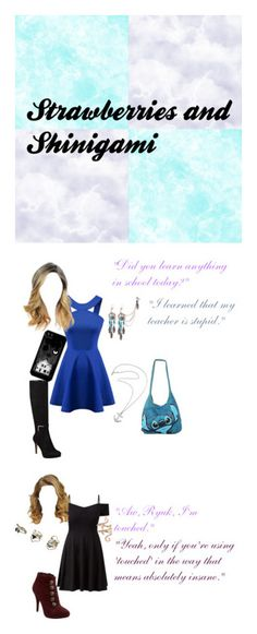 """""""Strawberries and Shinigami"""" by secretly-a-fangirl ❤ liked on Polyvore featuring art, Nine West, Karen Walker, Disney, Chicnova Fashion, Elise Dray, GUESS and Topshop"""