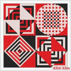 Black red white abstract pattern for decorative от HallStitch