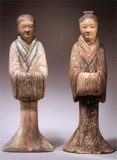 Mingqi chinese tomb figurines by Willem Claessen: Chinese tomb figurines of attendents from the Han Dynasty