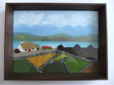VTG Irish Fabric Tweed Landscape Pictures CAVAN Painting N McGOVERN Textile Art Landscape Pictures, Textile Art, Tweed, Irish, Applique, Textiles, Frame, Fabric, Painting