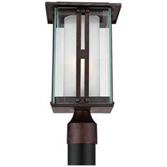 "Double Glass 15 3/4"" High Bronze Outdoor Post Light"