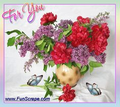 Beautiful flowers for you with fluttering butterflies