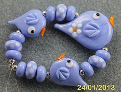 Tweet Lampwork bead set by Pixie Willow Designs