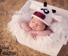 Cow Hat Knitting Pattern - Animal Beanie - Baby, Child, Sizes Newborn through 3-10 Years Included - Melody's Makings - $4