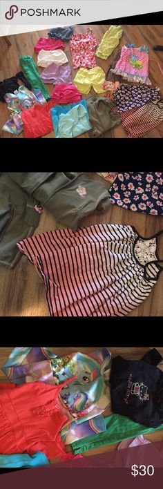 Girls 4/5t bundle 5 shorts, 5 dresses, 1 long sleeve? Charters outfit set, Capri pants and a pair of green gap skinny jeans. All excellent condition nice  clothing. Cute ruffle boutique pants in there too those alone were $35 Other