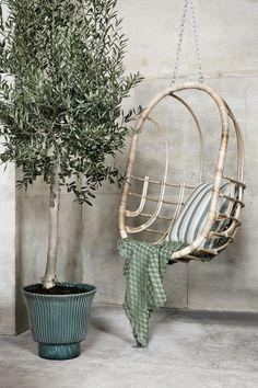 LAMA è Broste Copenhagen Sprint Summer Collection Home Accessories, Hanging Chair, Furniture Decor, Rattan Egg Chair, Chair, Broste Copenhagen, Hanging, Green Cushions, Vases Decor