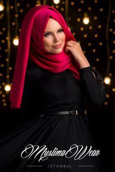 Muslima Wear Chiffon Scarf hijab Red Rose colour. | US Muslima Wear