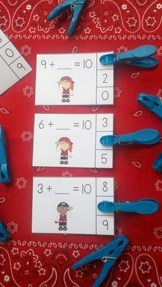 Pirate Friends of 10 Addition Clip Cards Elementary Math, Kindergarten Activities, Classroom Activities, Classroom Ideas, Pirate Day, Pirate Theme, Fun Math, Math Games, Maths