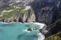 The turquoise water at Slieve League sea cliffs Donegal Ireland  Photograph  - The turquoise water at Slieve League sea cliffs Donegal Ireland  Fine Art Print
