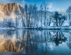 Winter reflections, Yosemite National Park, California, by Cindy Costa our-world-is-beautiful Reflection Photos, Reflection Photography, Winter Photography, Amazing Photography, Nature Photography, Scenic Photography, Photography Tips, Beautiful World, Beautiful Places