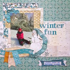 Winter Fun - Scrapbook.com - Create dimensional snow on a winter layout with Whie Opal Liquid Pearls.