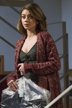 Haley Dunphy wearing  Forever 21 Marled Shawl Collar Cardigan, American Eagle Outfitters Don't Ask Why Crop Tank
