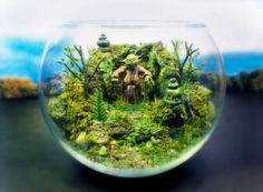 I know I could make a better Dagobah terrarium than this. Yoda looks weird and there should be more darkness to the grouping. | Yoda Deluxe Zen Garden - Dagobah Terrarium / Diorama