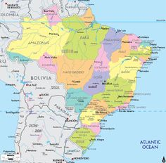 map of brazil | Description: The Political Map of Brazil showing names of capital city ...