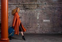 Rianne van Rompaey stuns in an orange coat for BOSS Hugo Boss' fall-winter 2016 campaign.